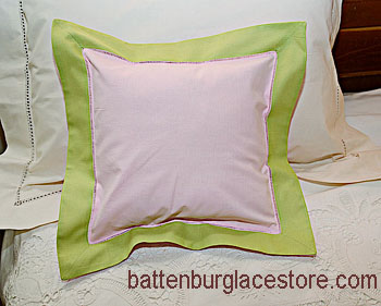 "Pillow sham. PINK LADY with MACAW GREEN color border.12"" SQ."